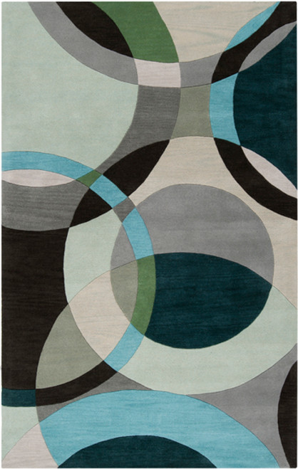 4' x 6' Blue and Gray Contemporary Rectangular Wool Area Throw Rug - IMAGE 1