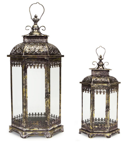 "Set of 2 Antique Style Pewter Gray Decorative Glass Pillar Candle Lanterns 34"" - IMAGE 1"
