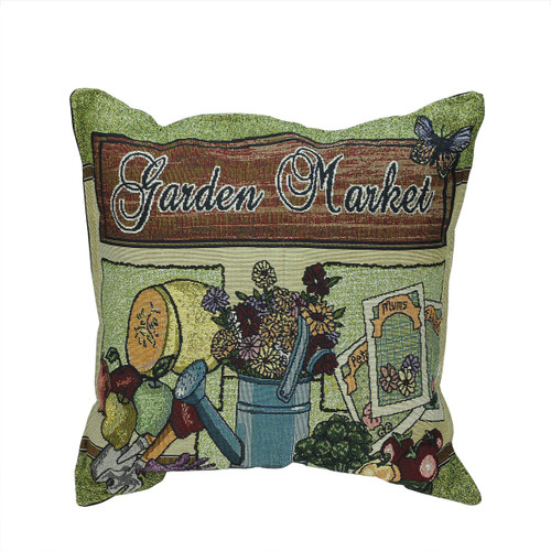 """17"""" Green and Brown 'Garden Market' Square Throw Pillow - IMAGE 1"""