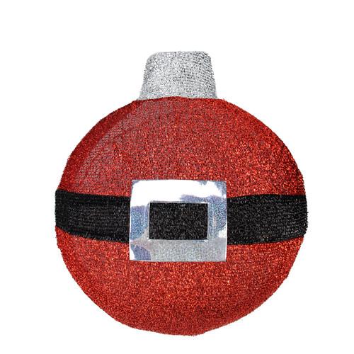 "17.25"" Pre-Lit Red and Black Christmas Ball Ornament Wall Decor - IMAGE 1"