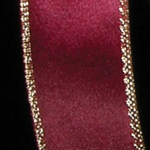 "Burgundy Red and Gold Woven Edge Craft Ribbon 1.5 "" x 54 Yards - IMAGE 1"