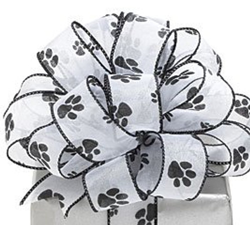 """Black and White Paw Print Wired Craft Ribbon 2.5"""" x 40 Yards - IMAGE 1"""