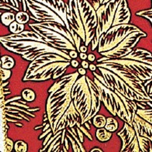 """Red and Gold Poinsettia Wired Craft Ribbon 4"""" x 20 Yards - IMAGE 1"""