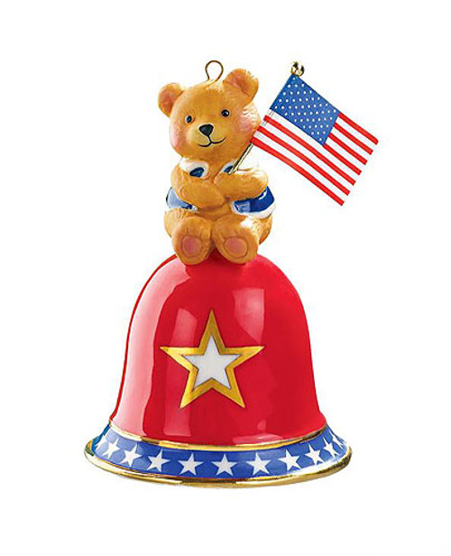 "3"" Red and Blue Teddy bear Carlton on Bell Christmas Ornament - IMAGE 1"