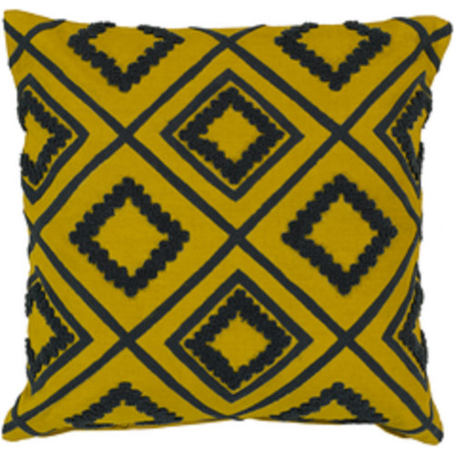 """18""""Gray and  Yellow Cotton Square Throw Pillow - Poly Filled - IMAGE 1"""