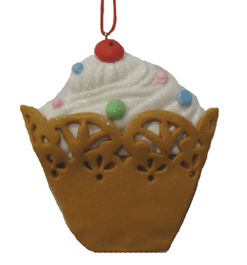 """4"""" Sweet Memories White Cupcake with Cherry on Top Christmas Ornament - IMAGE 1"""