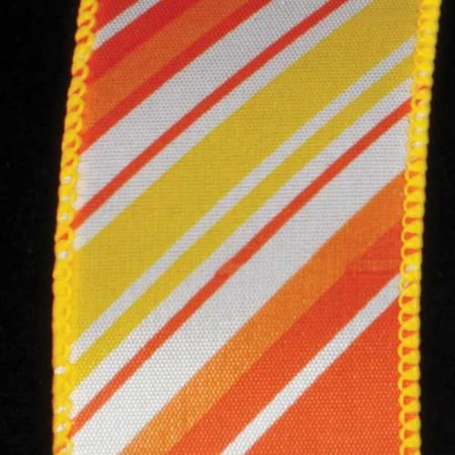 "Yellow and Orange Candy Stick Striped Wired Craft Ribbon 1.5"" x 40 Yards - IMAGE 1"
