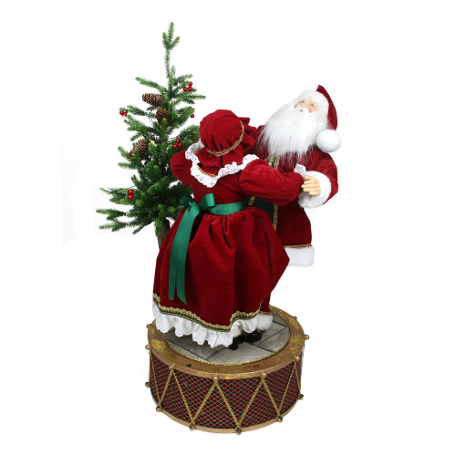 """32"""" Musical and LED Lighted Rotating Santa and Mrs Claus Christmas Figurine - IMAGE 1"""