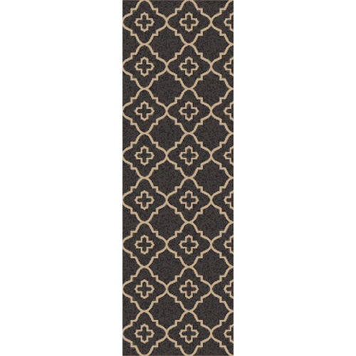 2.5' x 8' Balkan Modesty Sand Brown and Charcoal Black Hand Woven Area Throw Rug Runner - IMAGE 1