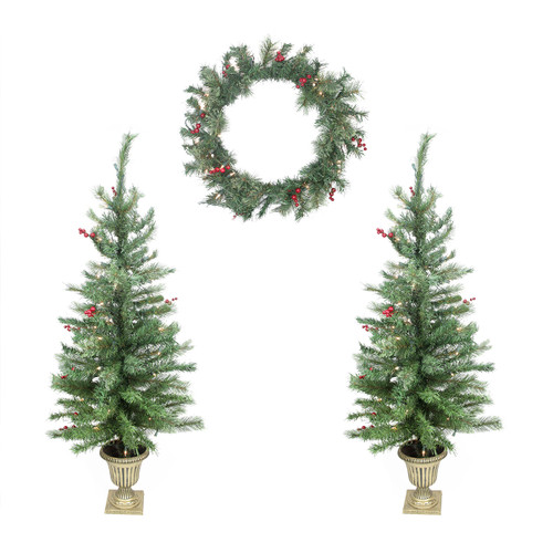 Berry Christmas Tree Lights: 4-Piece Set Of Red Berry Pine Artificial Christmas Trees