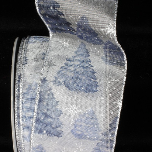"""Blue and Silver Fir Wired Craft Ribbon 3"""" x 20 Yards - IMAGE 1"""