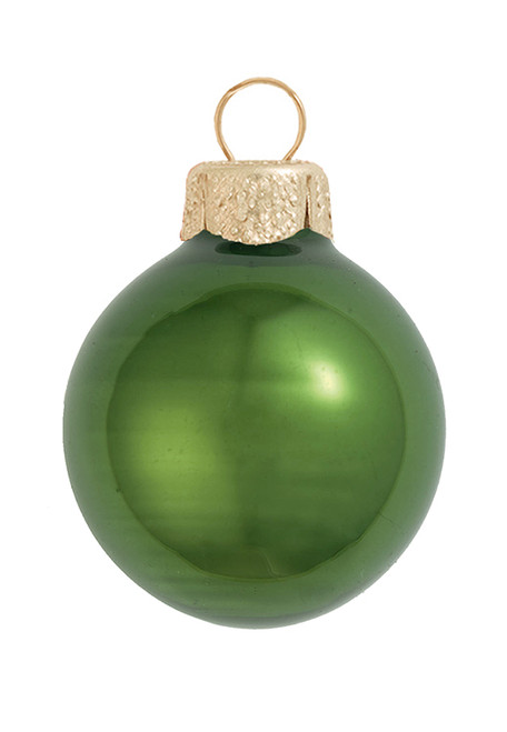 """2ct Moss Green Glass Pearl Christmas Ball Ornaments 6"""" (150mm) - IMAGE 1"""