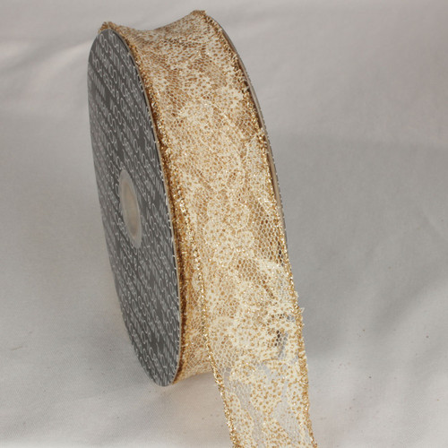 """Gold Solid Floral Print Lace Craft Ribbon 1.5"""" x 40 Yards - IMAGE 1"""