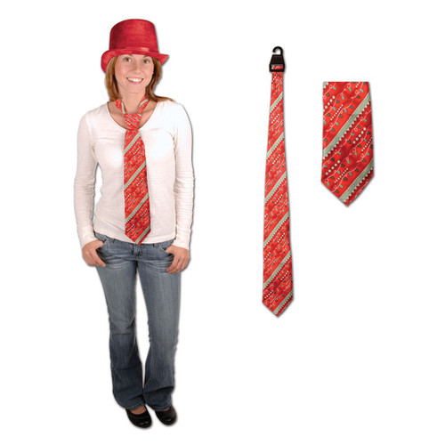 """Club Pack of 12 Red and Green Holiday Light Christmas Neckties Costume Accessory 51.5"""" - IMAGE 1"""