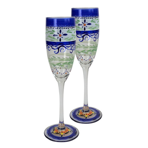 Set of 2 Blue Floral Hand Painted Champagne Flute Drinking Glass 5.75 oz. - IMAGE 1
