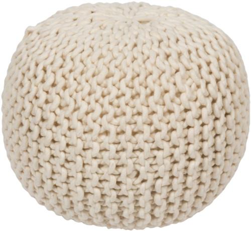 """18"""" Light Taupe Ball of Yarn Wool Round Pouf Ottoman - IMAGE 1"""