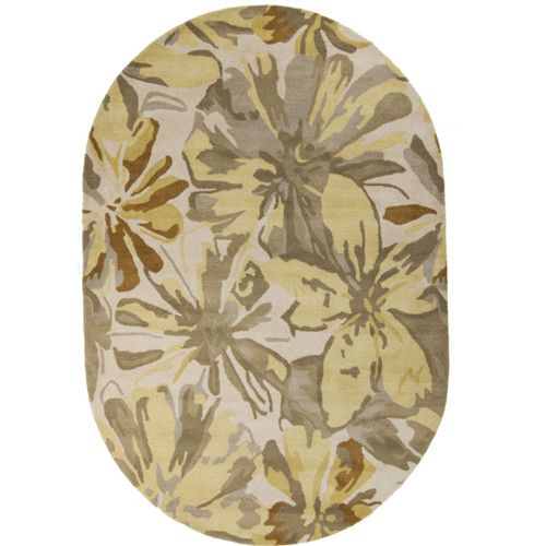 6' x 9' Gray and Brown Floral Oval Area Throw Rug - IMAGE 1
