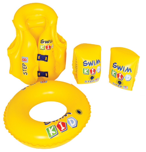 4-Pieces Inflatable Yellow Swim Kid Children's Swimming Pool Float Learning Set, 18-Inch - IMAGE 1