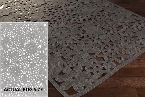 2' x 3' Floral Gray Hand Woven Rectangular Outdoor Area Throw Rug - IMAGE 1
