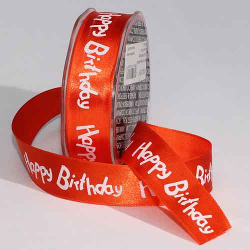 "Orange and White ""Happy Birthday"" Craft Ribbon 1"" x 132 Yards - IMAGE 1"