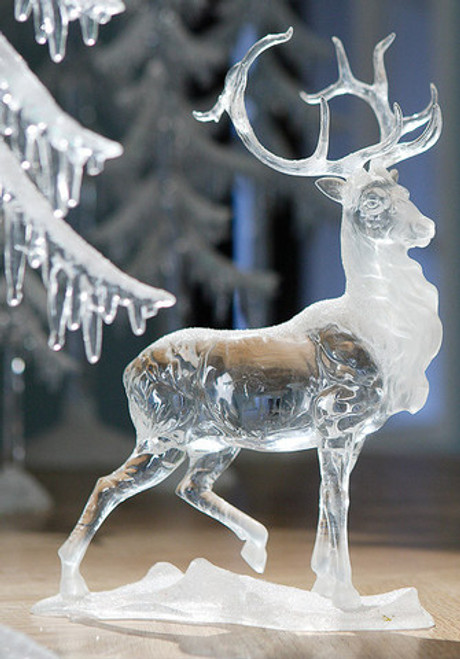 """Set of 4 Clear Icy Christmas Caribou Figurines 11"""" - IMAGE 1"""