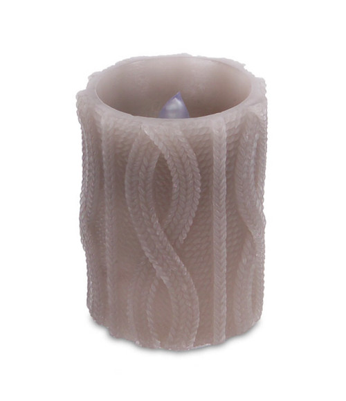 """4"""" Brown Cable Knit Battery Operated Flameless LED Wax Christmas Pillar Candle - IMAGE 1"""