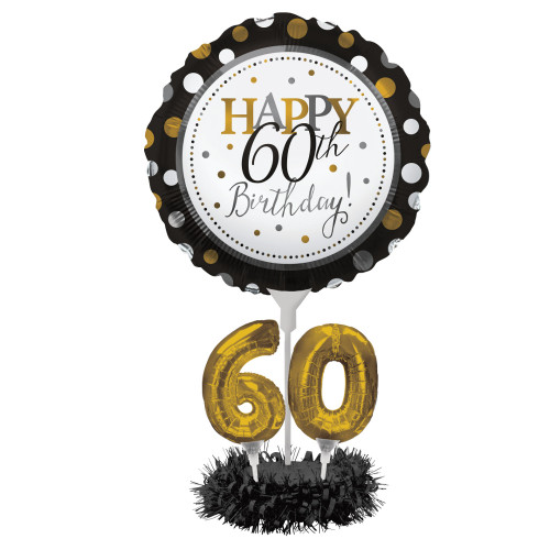 "Set of 4 Black and Gold Colored Happy 60th Birthday! Foil Party Balloon Centerpiece Kits 30"" - IMAGE 1"