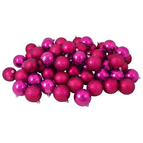"60ct Magenta Pink 4-Finish Shatterproof Christmas Ball Ornaments 2.5"" (60mm) - IMAGE 1"
