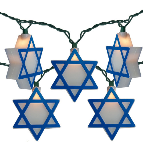 10-Count Blue and White Mini Star of David Novelty Hanukkah Light Set, 10ft Green Wire - IMAGE 1