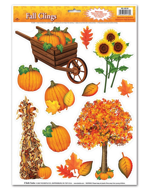 """Club Pack of 144 Colorful Fall Thanksgiving Window Cling Decorations 17"""" - IMAGE 1"""
