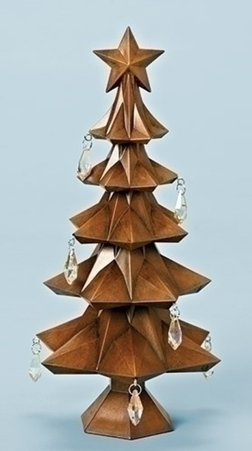 """11"""" Brown and Clear Tabletop Christmas Tree with Star and Jewels - IMAGE 1"""