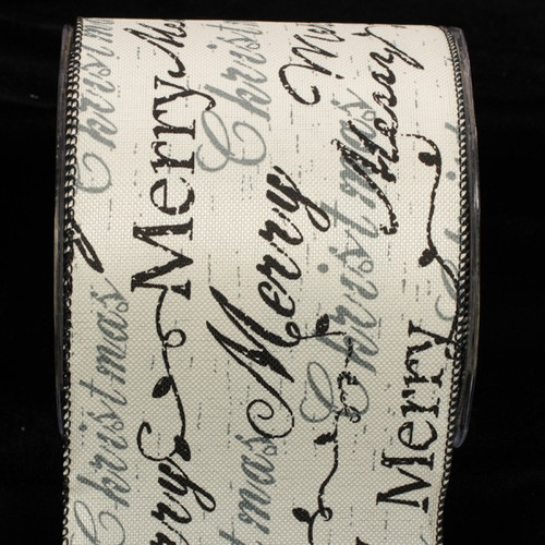 """Black and White Holiday Script Wired Christmas Craft Ribbon 4"""" x 20 Yards - IMAGE 1"""