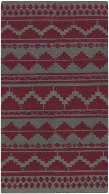 8' x 11' Bohemian Maroon Red and Gray Hand Woven Rectangular Wool Area Throw Rug - IMAGE 1