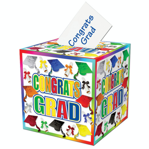 """Pack of 6 Green and Blue Congratulations Graduation Party Gift Card Boxes 12"""" - IMAGE 1"""