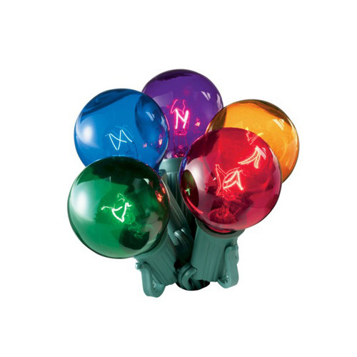 20-Count Multi-Color Transparent G40 Globe Christmas Light Set, 19ft Green Wire - IMAGE 1