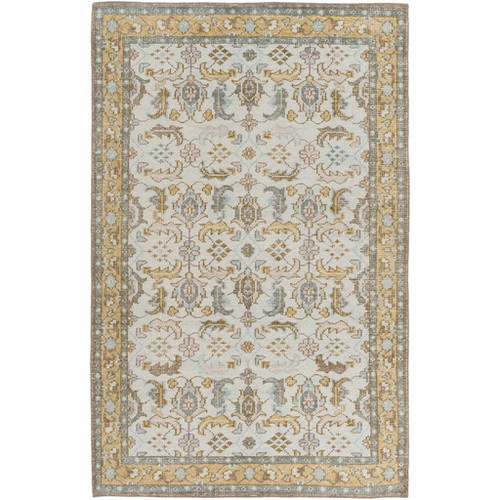 5.5' x 8.5' Ice Blue and Tan Brown Hand Knotted Rectangular Wool Area Throw Rug - IMAGE 1