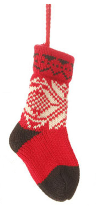 """6.5"""" Alpine Chic Red, Black and Cream Nordic Snowflake Design Knit Sock Christmas Ornament - IMAGE 1"""