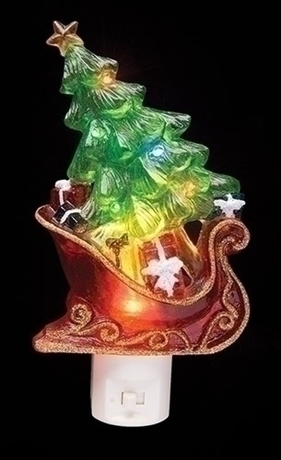 """7.5"""" Green and Red Sleigh with Christmas Tree and Presents Decorative Christmas LED Night Light - IMAGE 1"""
