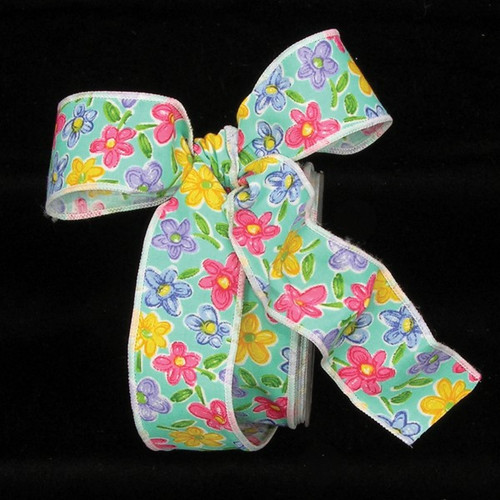 """Pink and Yellow Summer Flowers Wired Craft Ribbon 1.5"""" x 68 Yards - IMAGE 1"""