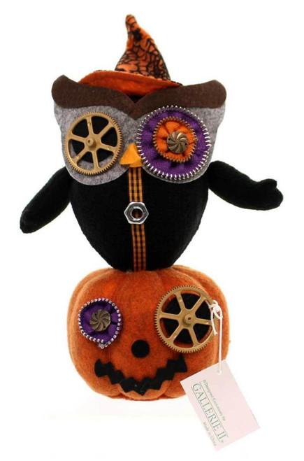 "11"" Black and Orange Owl on Pumpkin Halloween Tabletop Decor - IMAGE 1"