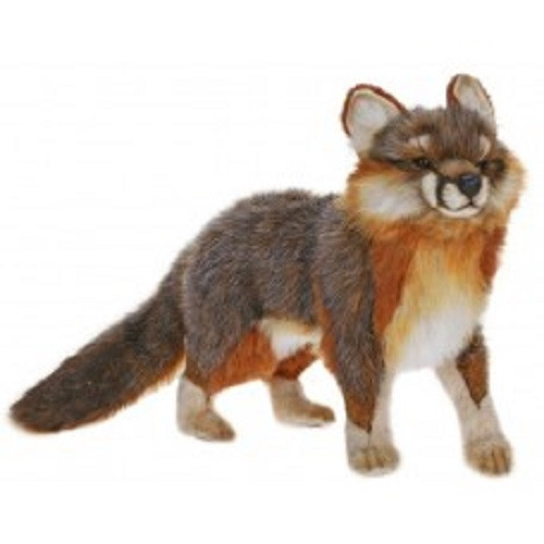 """Set of 2 Gray and Brown Handcrafted Soft Plush Fox Stuffed Animals 15.5"""" - IMAGE 1"""