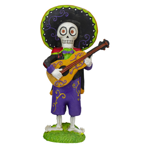 """10"""" Purple and Black Day of the Dead with Guitar Halloween Tabletop Figurine - IMAGE 1"""