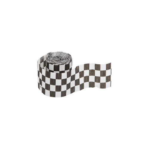 Club Pack of 12 Black and White Checkered Crepe Party Streamers 30' - IMAGE 1