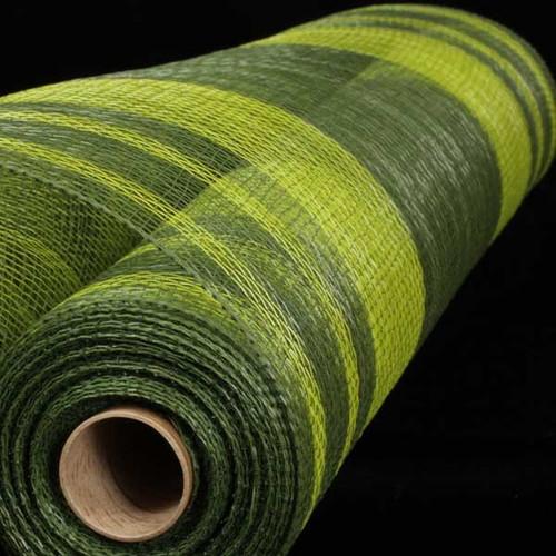 "Hunter and Light Green Striped Deco Mesh Craft Ribbon 21"" x 40 Yards - IMAGE 1"
