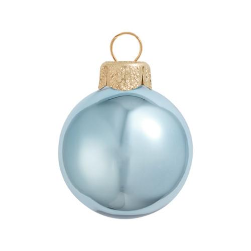 "28ct Sky Blue Shiny Glass Christmas Ball Ornaments 2"" (50mm) - IMAGE 1"