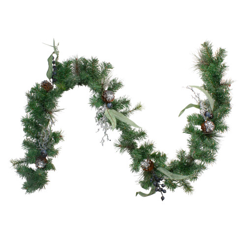 "6' x 12"" Pine and Blueberries Artificial Christmas Garland - Unlit - IMAGE 1"