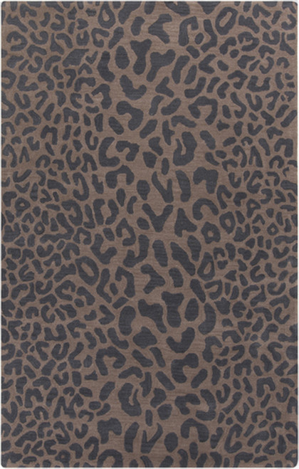 10' x 14' Brown and Black Contemporary Cheetah Hand Tufted Rectangular Wool Area Throw Rug - IMAGE 1