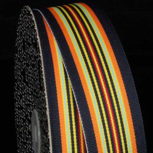 "Orange and Yellow Striped Woven Grosgrain Craft Ribbon 1.5"" x 55 Yards - IMAGE 1"