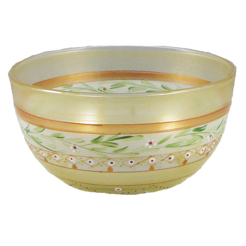 """Set of 2 Gold Mosaic Garland and Stripes Hand Painted Glass Serving Bowls 6"""" - IMAGE 1"""