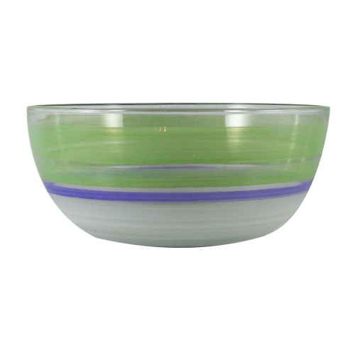 """11"""" Green and White Contemporary Striped Glass Serving Bowl - IMAGE 1"""